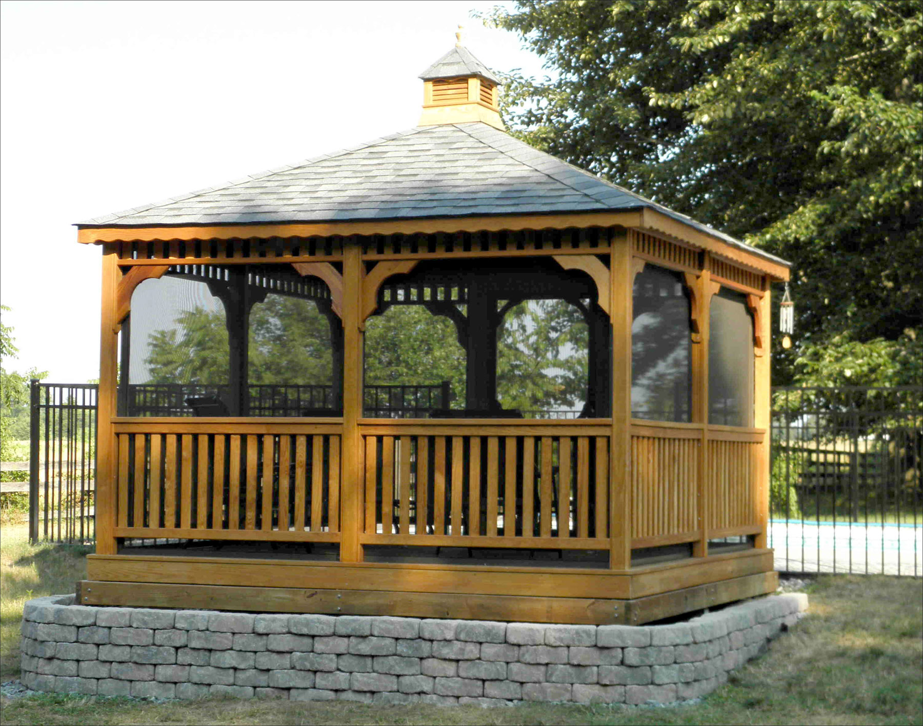12x12 screened gazebo square canopy outdoor. Black Bedroom Furniture Sets. Home Design Ideas