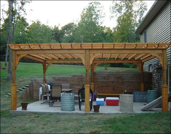 """Roof Design Ideas: 15' 4"""" X 21' 6"""" Treated Pine 4-Beam Pergola"""