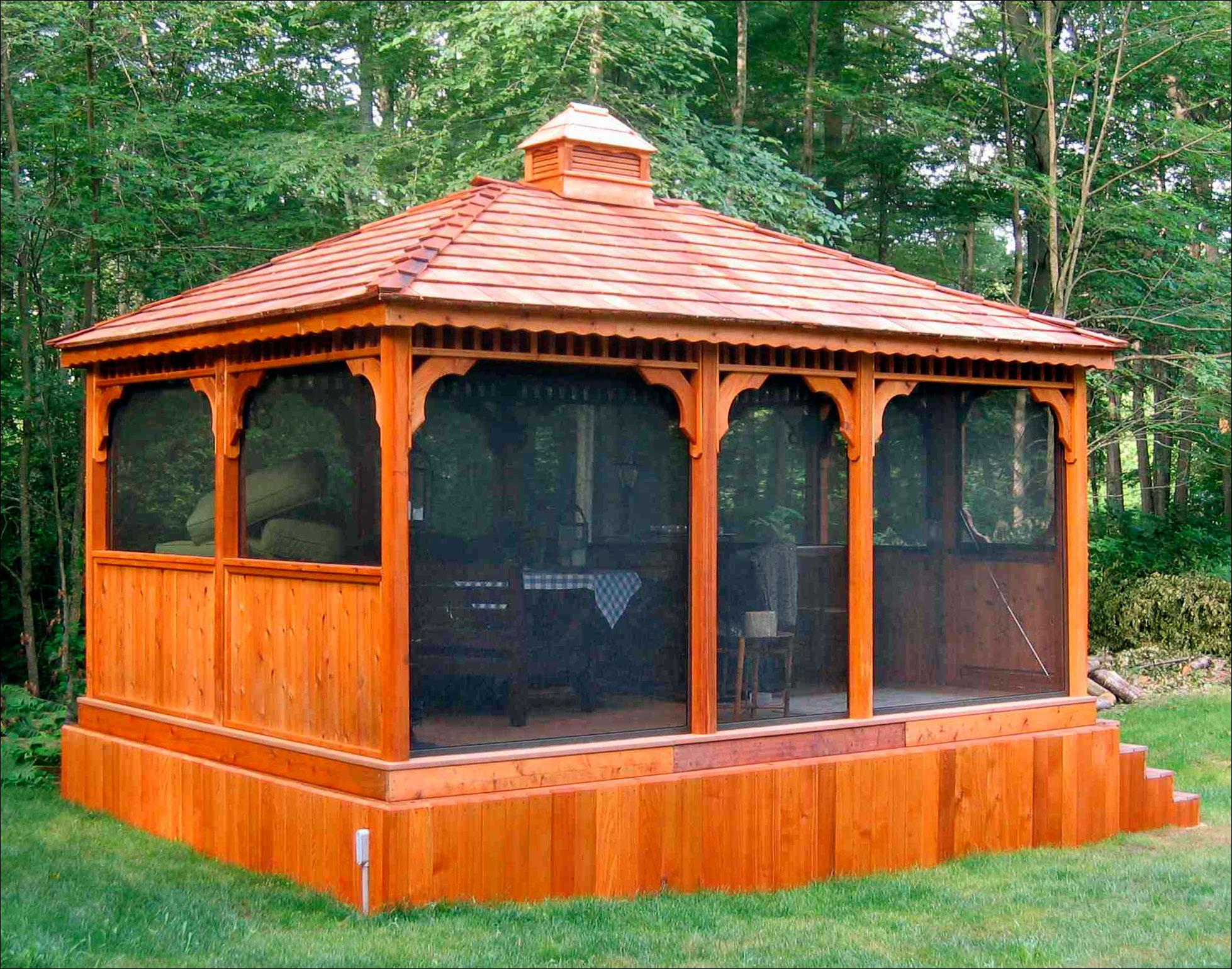 Customer 39 s photo custom 12 39 x 16 39 cedar rectangular gazebo for Built in gazebo
