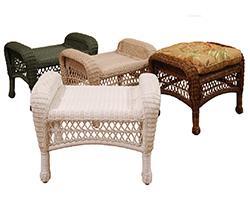 Wicker Sands Ottoman W/ Cushion