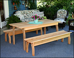 Red Cedar Contoured Picnic Table W/Benches