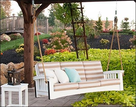 Cypress Mission Sofa Rope Swingbed w/ Sunbrella Cushions