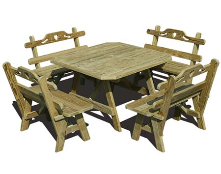 Treated Pine Wide Picnic Table W Hearts