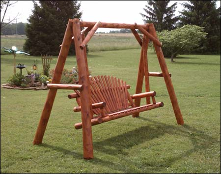 White cedar stained love seat swing w stand for Log swing plans