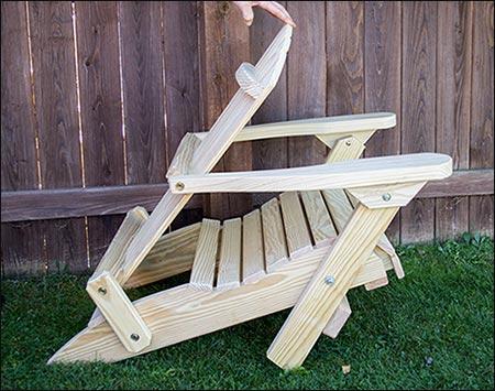Treated Pine Folding Adirondack Chair w Footrest