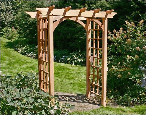 Wood arbors arbor kits for Garden arbors designs