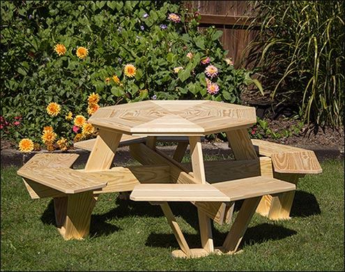 Treated Pine Kidu0027s Octagon Picnic Table