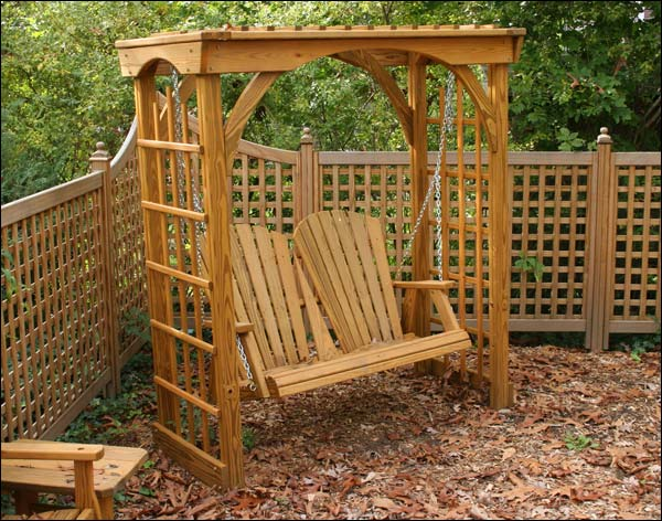 Treated Pine Springfield Arbor with 4' Swing with Stain