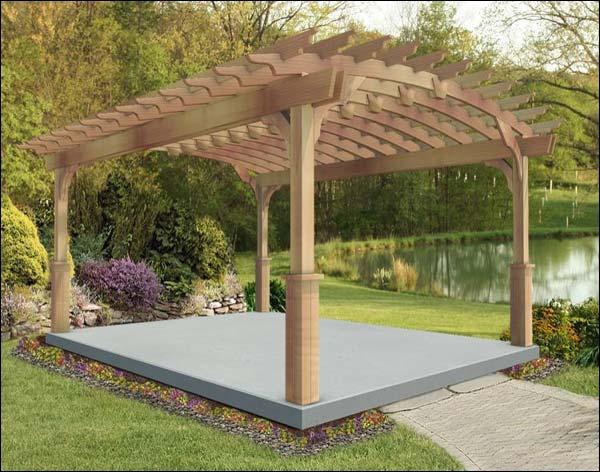 12' x 16' Red Cedar Arched Garden Pergola