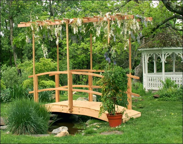 4' Monet's Red Cedar Bridge w/ Flat Wisteria Canopy