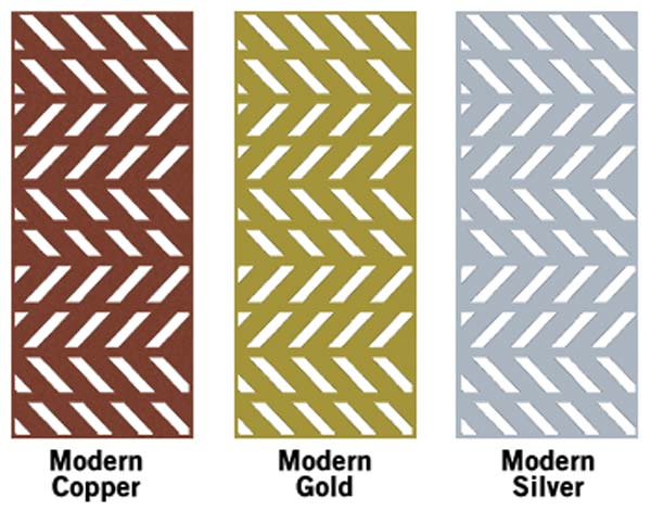 steel decorative panels shown with modern pattern and powder coated color options - Decorative Panels