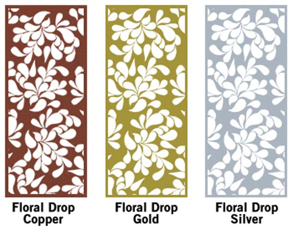 steel decorative panels shown with floral drop pattern and powder coated color options - Decorative Panels
