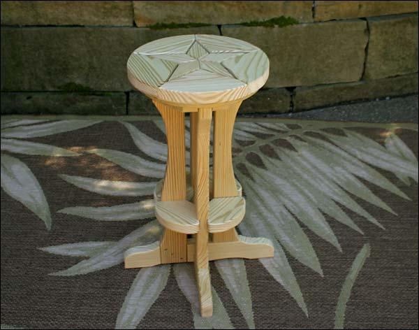 Treated Pine Star Design Pub Stool