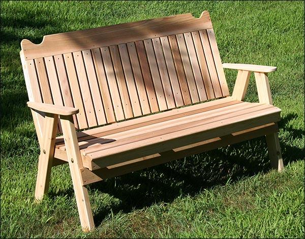 4' Red Cedar Straightback Garden Bench
