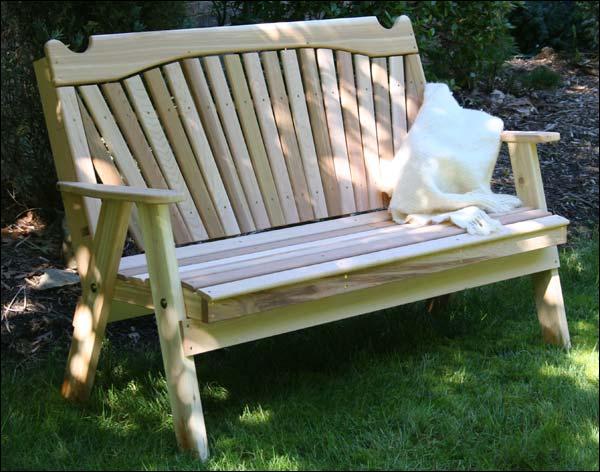 4' Red Cedar Classic Fanback Garden Bench
