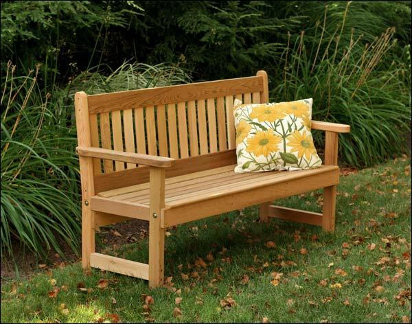 4' Red Cedar English Garden Bench