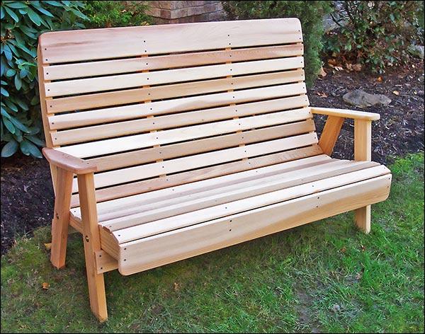 4' Red Cedar Royal Highback Garden Bench