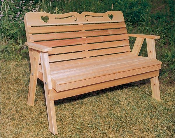 4' Red Cedar American Sweetheart Garden Bench