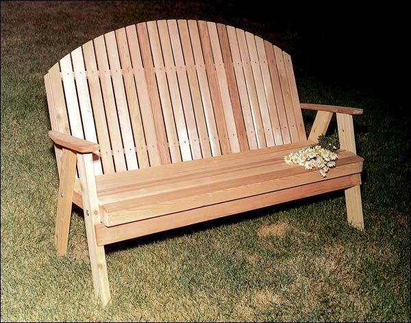 6' Red Cedar Blue Mountain Fanback Garden Bench