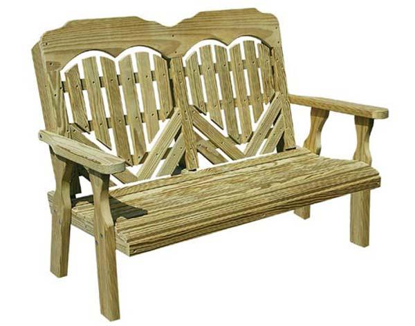 "53"" Treated Pine Heartback Garden Bench"
