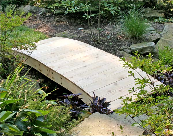 10' Red Cedar Crescent Moon Plank Bridge