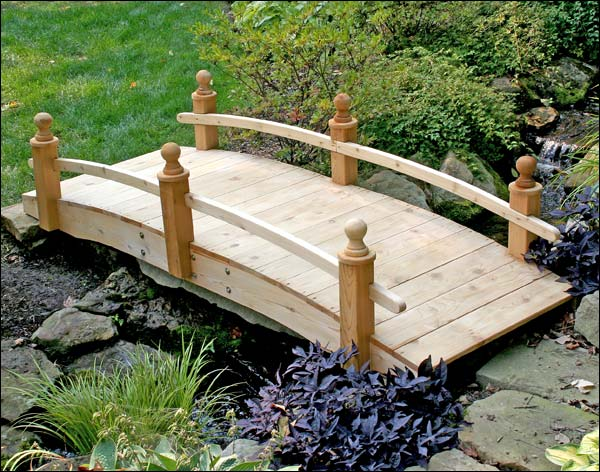 12' Red Cedar Starflower Single Rail Bridge