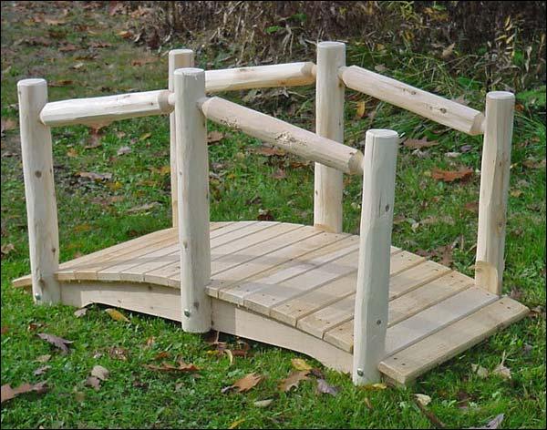 3' White Cedar Unstained Single Rail Bridge