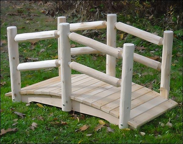 3' White Cedar Unstained Double Rail Bridge