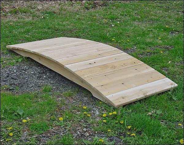 3' White Cedar Unstained Arched Plank Bridge