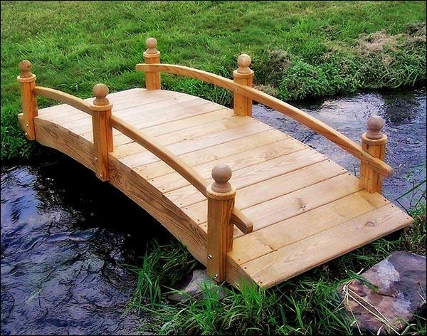 4' Treated Pine Amelia Single Rail Garden Bridge with Stain