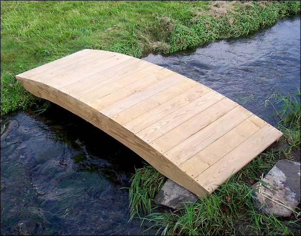 6' Treated Pine Fiore Plank Garden Bridge