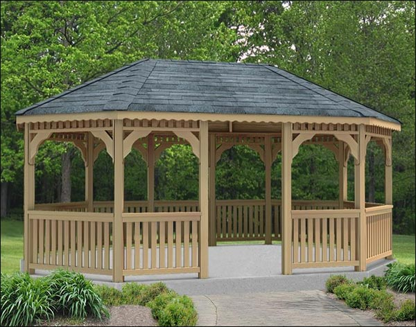 14' x 18' Cedar Oval Gazebo