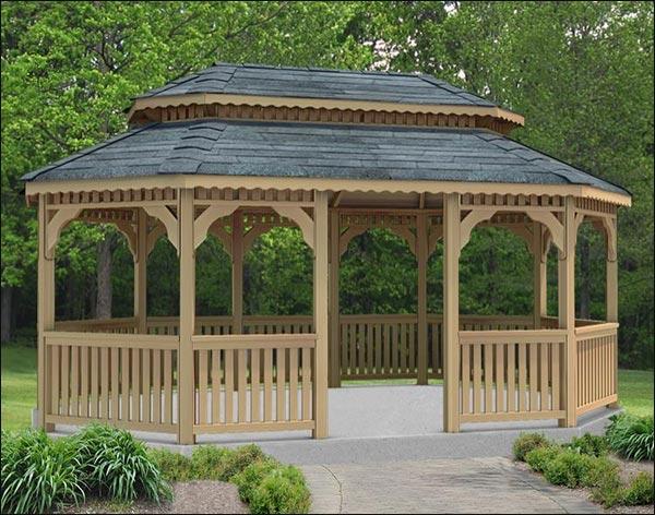 14' x 20' Cedar Oval Double Roof Gazebo