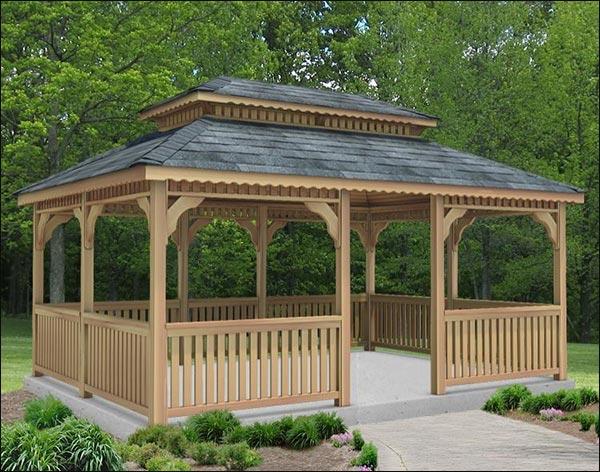 14' x 20' Cedar Rectangular Double Roof Gazebo