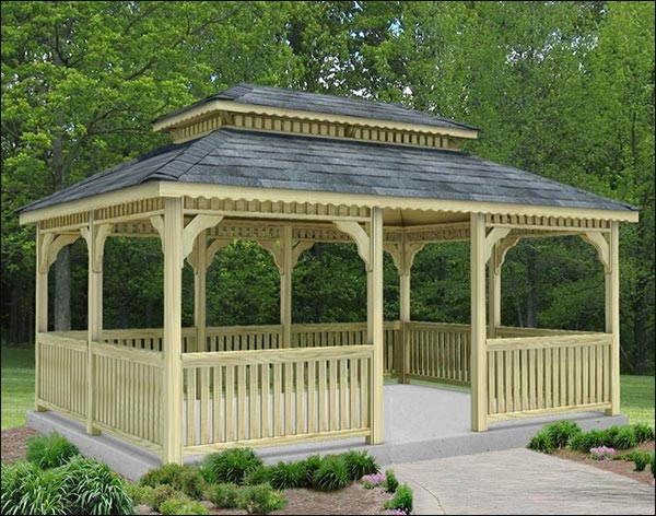 20' x 24' Treated Pine Rectangular Double Roof Gazebo