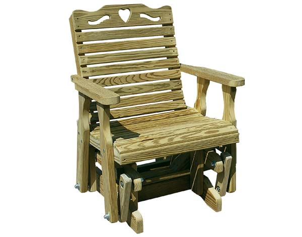 Treated Pine Crossback w/Heart Glider Chair