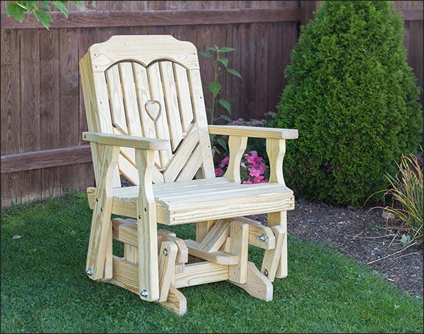 Treated Pine Heartback Glider Chair