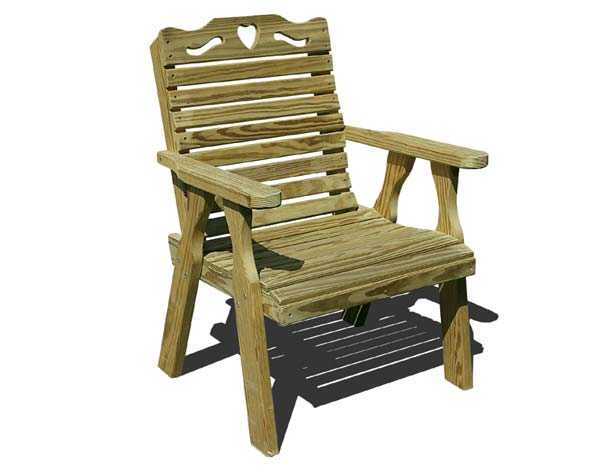 Treated Pine Crossback w/ Heart Patio Chair