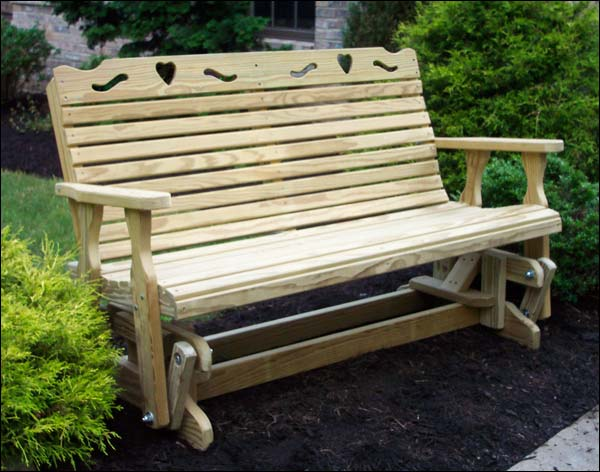 """53"""" Treated Pine Crossback with Heart Glider"""