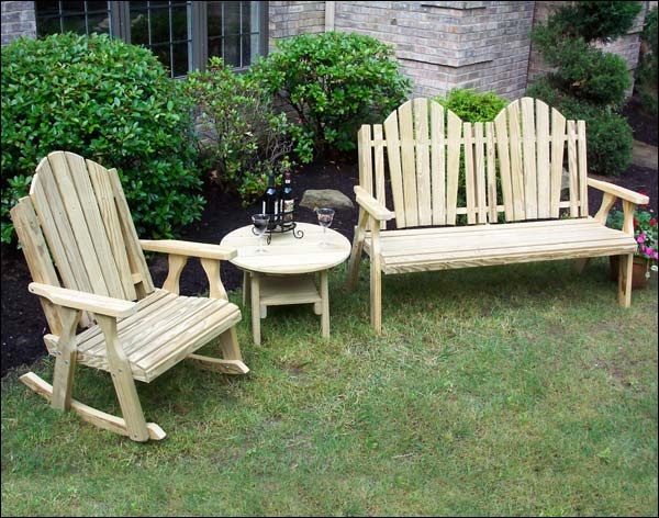 Treated Pine Curveback Bench and Rocker Group