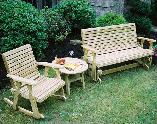 Treated Pine Rollback Glider and Rocker Group