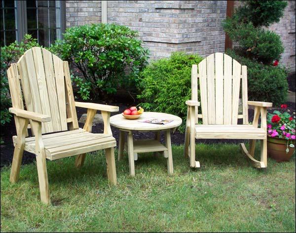 Treated Pine Curveback Rocker, Chair & Table