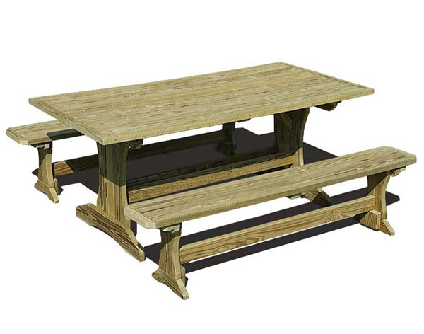 5' Treated Pine Trestle Picnic Table with 2 Benches