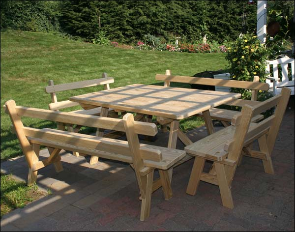 """43"""" x 46"""" Treated Pine Wide Picnic Table with 4 Backed Benches"""