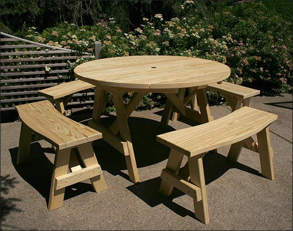 """48"""" Treated Pine Round Picnic Table with 4 Curved Benches"""