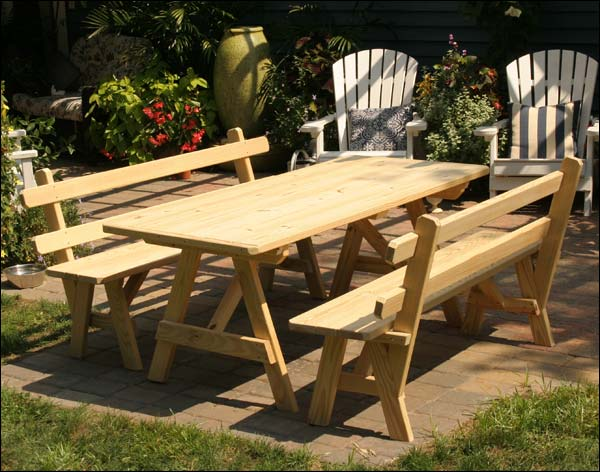 5' Treated Pine Picnic Table with 2 Backed Benches