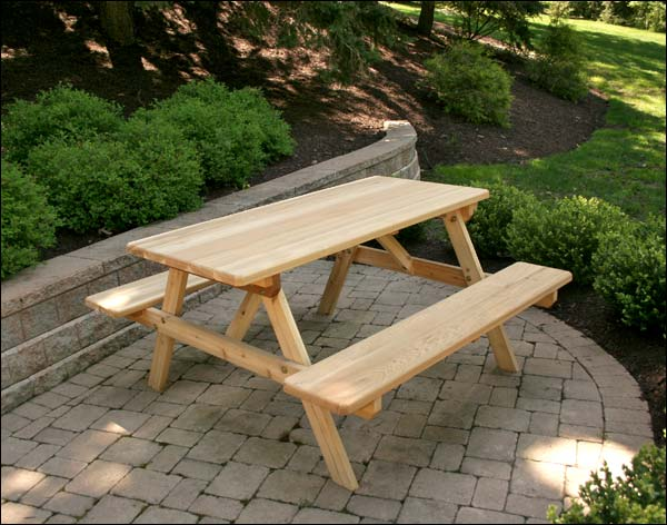 10' Red Cedar Picnic Table with Attached Benches