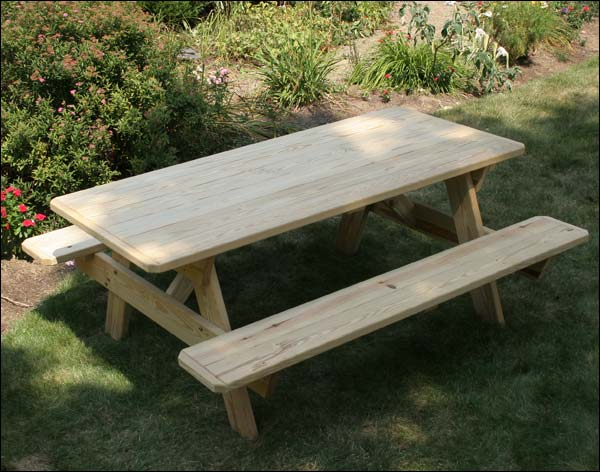 4' Treated Pine Picnic Table with Attached Benches