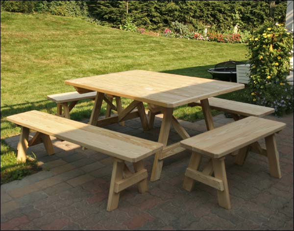 """43"""" x 60"""" Treated Pine Wide Picnic Tables with Traditional Benches"""