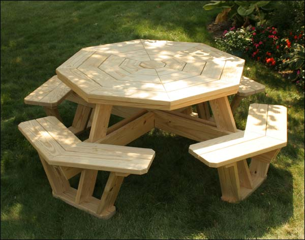 """52"""" Treated Pine Octagon Walk-In Picnic Table"""